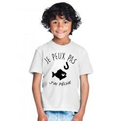 T-shirt Je peux pas j'ai pêche - Cadeau enfant fille et garçon de pêcheur