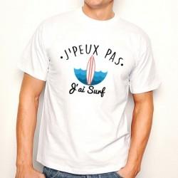 T-shirt j'peux pas jai surf - cadeau homme océan