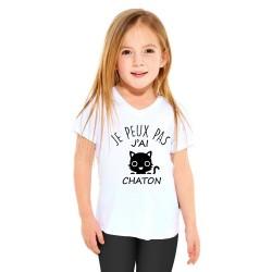 T-shirt Je peux pas j'ai chaton - Cadeau enfant fille et garçon