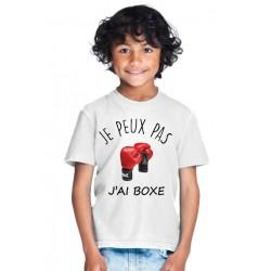 T-shirt Je peux pas j'ai BOXE - Cadeau enfant fille et garçon sport de combat