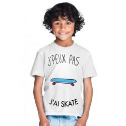 T-shirt Je peux pas j'ai Skate- Cadeau enfant fille et garçon
