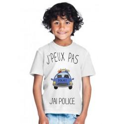 T-shirt Je peux pas j'ai police - Cadeau enfant fille et garçon