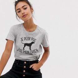 T-Shirt j'peux pas j'ai mon chien - Femme