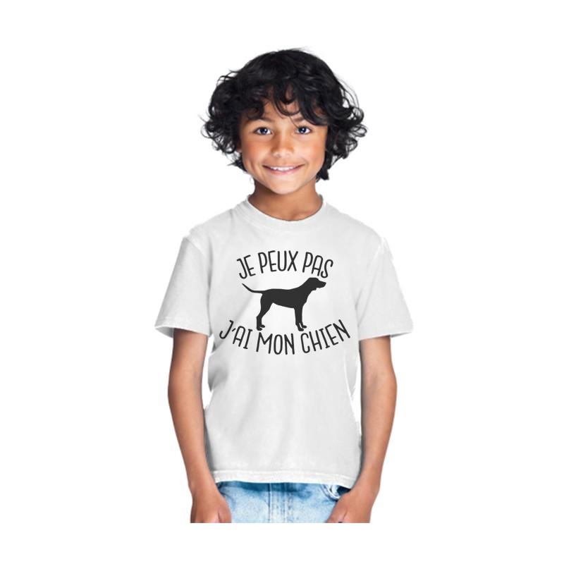 T-shirt Je peux pas j'ai mon chien - Cadeau enfant fille et garçon