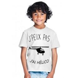 T-shirt Je peux pas j'ai hélico - Cadeau enfant fille et garçon