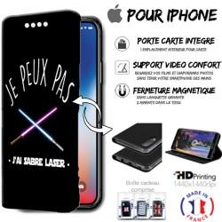 Housse portefeuille j'peux pas j'ai sabre laser iPhone - étui Apple