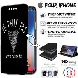 Housse portefeuille j'peux pas vivre sans toi iPhone - étui Apple
