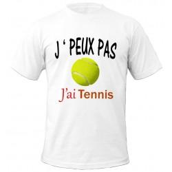 T-shirt j'peux pas J'ai tennis - Balle jaune - cadeau homme