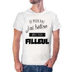t-shirt j'peux pas j'ai bêtise avec mon filleul - cadeau homme