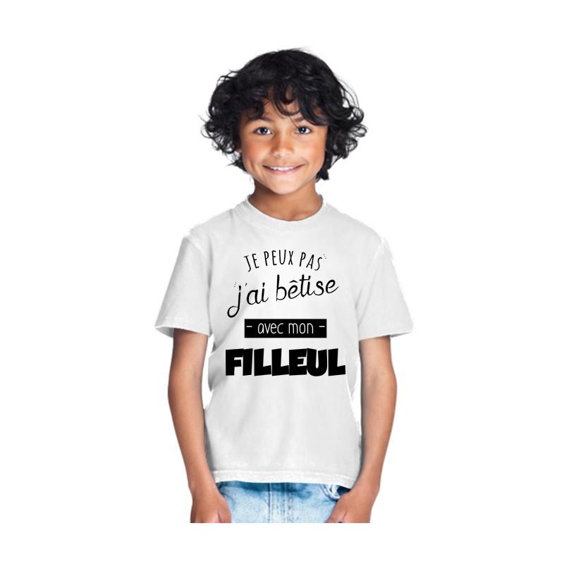 T-shirt Je peux pas bêtise avec filleul - Cadeau enfant fille et garçon