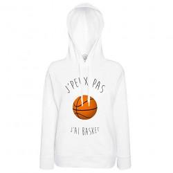 Sweat à Capuche J'Peux Pas J'Ai Basket Ballon de Basket-Ball Humour Rigolo Hoodie