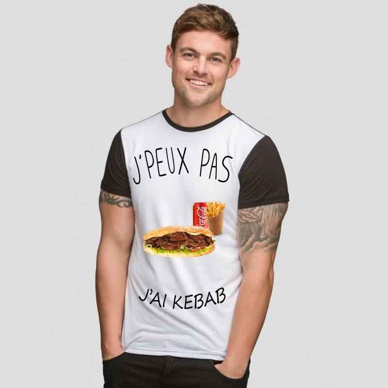 Tshirt j'peux pas j'ai Kebab  bicolore noir/blanc
