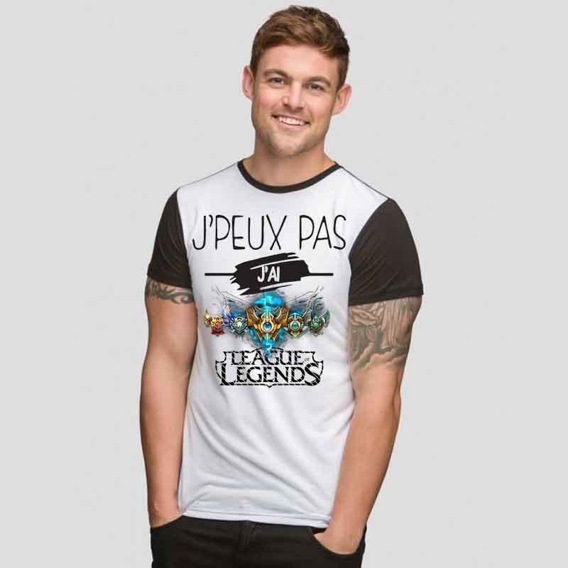 Tshirt Je peux pas J'ai League Of Legends     bicolore noir/blanc