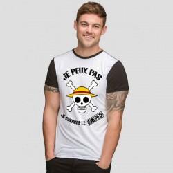 Tshirt Je peux pas Je cherche le one piece   bicolore noir/blanc