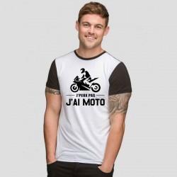 Tshirt j'peux pas j'ai moto   bicolore noir/blanc