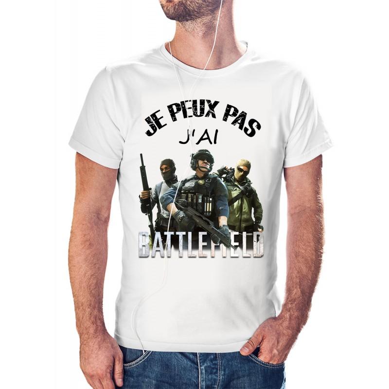 t-shirt je peux pas j'ai battlefield- cadeau homme