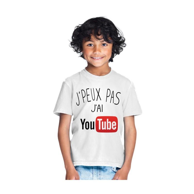T-shirt je peux pas j'ai Youtube vidéo - Cadeau enfant fille et garçon