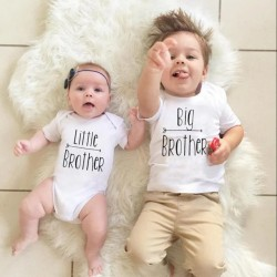 Body bébé Little Brother + T-Shirt enfant Big Brother - Coffret Cadeau