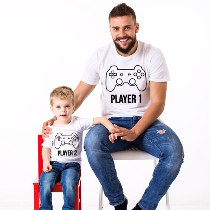 T-shirt Player 1 Adulte - Enfant Player 2 Ensemble Joueur de père en fils