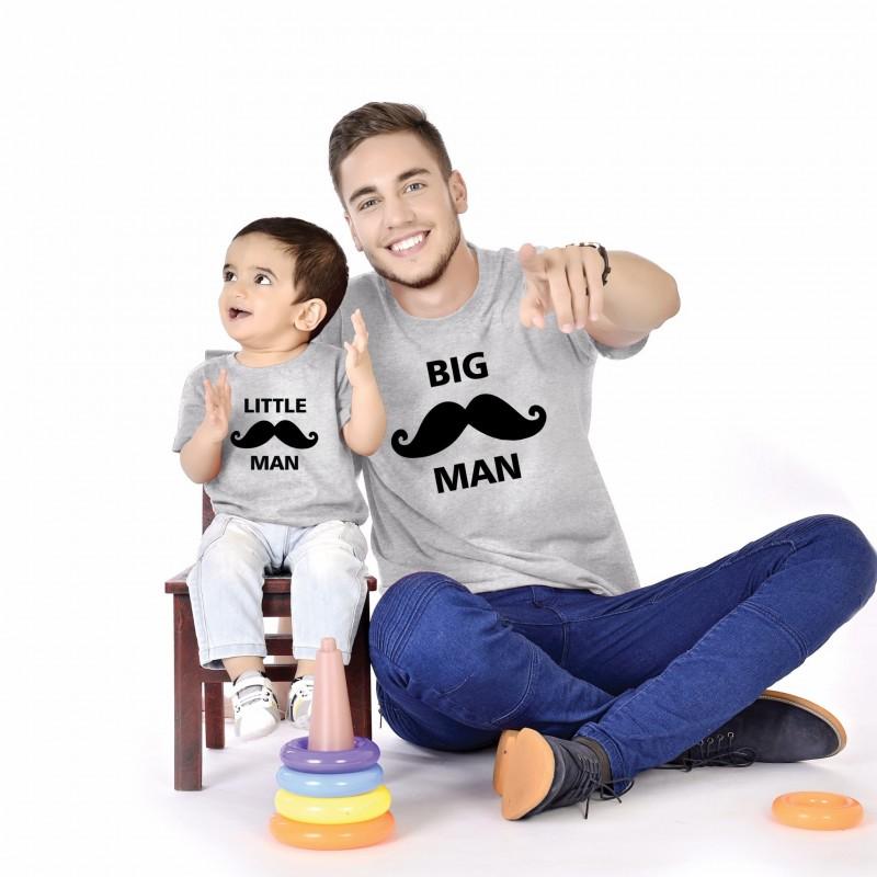 T-shirt moustache Big man Homme - Little man Enfant Ensemble père et enfant GRIS