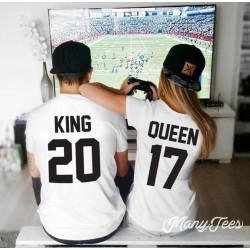 T-Shirt King / Queen pour couple avec impression dans le dos et numéro personnalisable