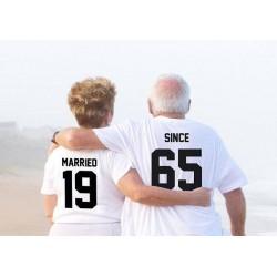 T-Shirt Married / Since pour couple avec impression dans le dos et numéro personnalisable
