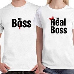 T-Shirt The Boss Homme - The real Boss femme pour couple