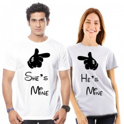 T-Shirt She is mine - he is mine femme pour couple