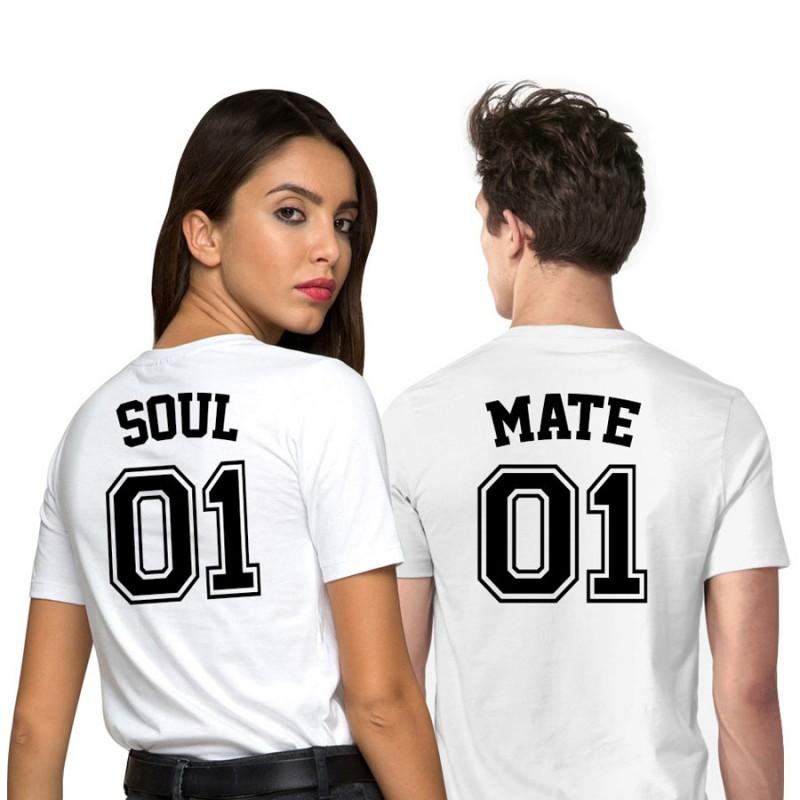T-Shirt Soul Mate pour couple avec impression dans le dos et numéro personnalisable