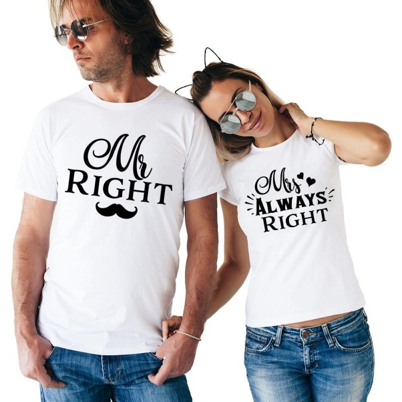 T-Shirt Mr Right homme et Tshirt Ms Always right femme pour couple