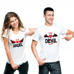 T-Shirt Devil Homme et tshirt Angel femme pour couple