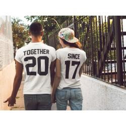 T-Shirt Together since pour couple avec impression dans le dos et numéro personnalisable