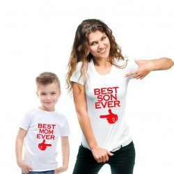 T-shirt Best Mom ever Femme - Best Son Ever Enfant Ensemble mère et fils