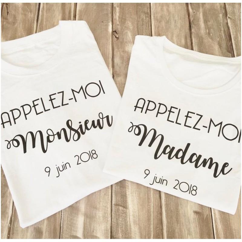 2 Tee-shirts EVJF et EVG - Appelez moi Madame - Appelez moi Monsieur - teeshirt mariage - teeshirt mariage evjf - couple