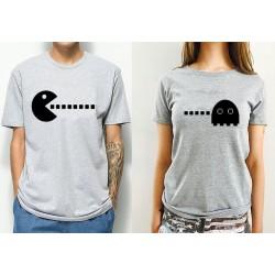 T-Shirt Couple Gamer Pacman gris - Coffret cadeau