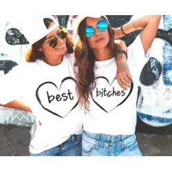 Lot de 2 T-Shirts Femme Best bitches coeur