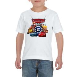 T-shirt Flash McQueen Cars avec Numéro & nom personnalisable  - Cadeau enfant fille et garçon