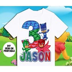 T-shirt Pijamask personnalisable - Cadeau d'anniversaire enfant