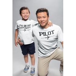 T-shirt Homme assorti avec tshirt Enfant Copilote et Pilote