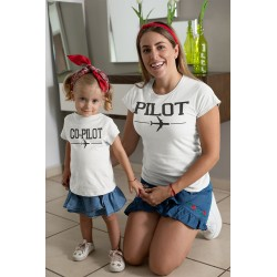 T-shirt Maman et tshirt enfant assorti Copilote et Pilote