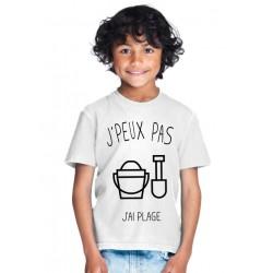 T-shirt Je peux pas j'ai plage - Cadeau enfant fille et garçon