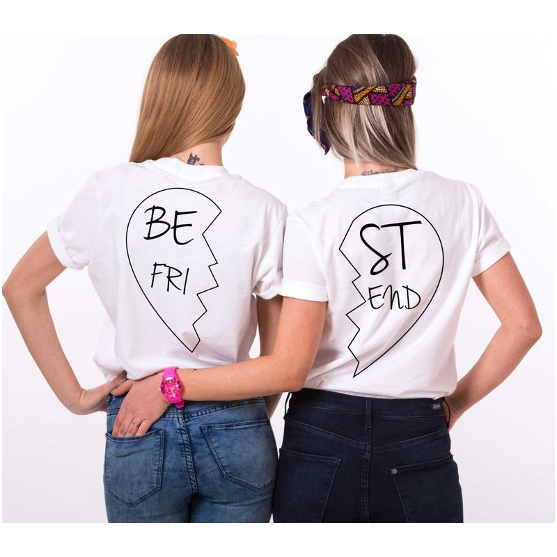 Lot de 2 T-Shirts Femme Best Friends coeur