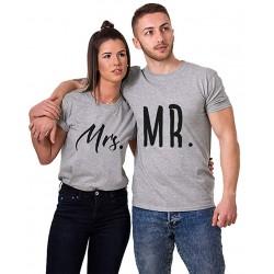 T-Shirt Mr.&Mrs gris pour femme homme amoureux Saint-Valentin Cadeau Anniversaire