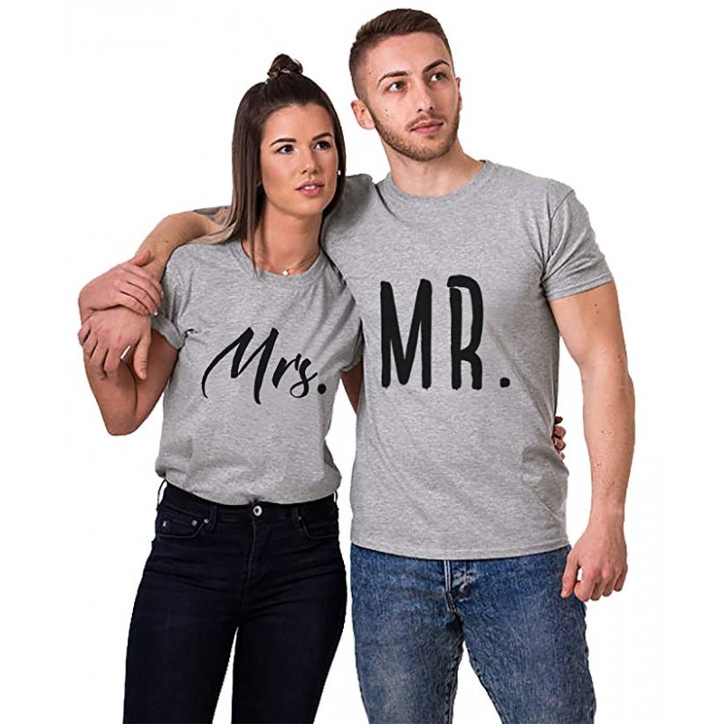 t shirt mr mrs gris pour femme homme amoureux saint. Black Bedroom Furniture Sets. Home Design Ideas