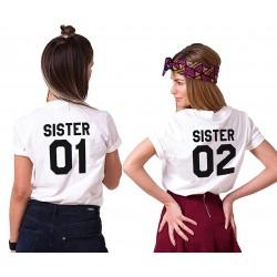 T-Shirt Sister Imprimé Tops à Manches Courtes Casual Été personnalisable