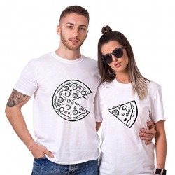 T-Shirt Couple assorti Pizza Amoureux femme homme Saint-Valentin Cadeau Anniversaire