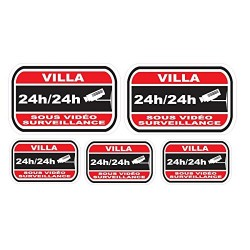 Sticker dissuasifs pour alarme et video surveillance - Villa