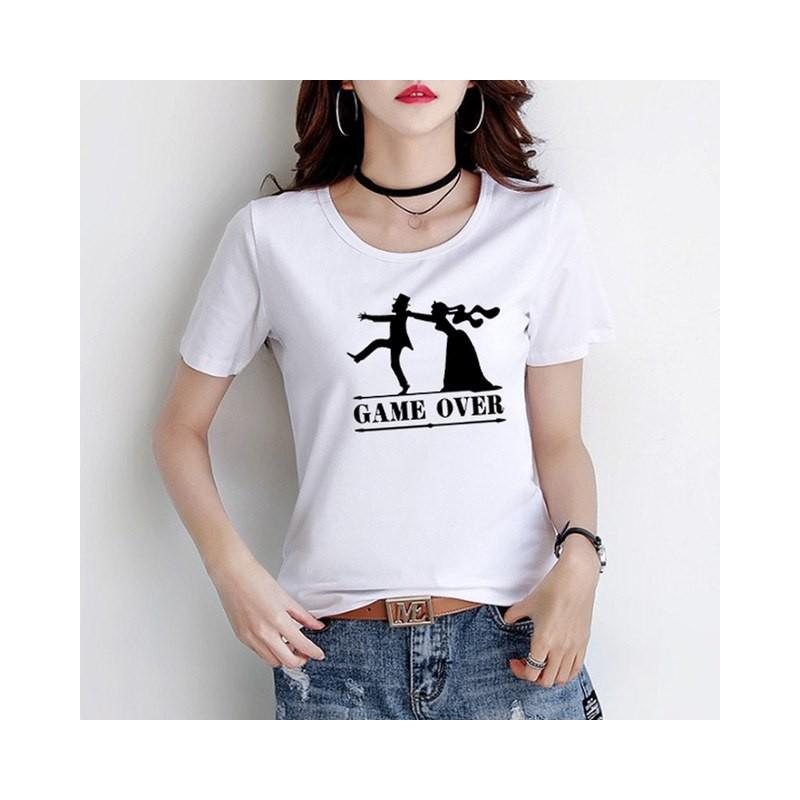 T-Shirt Game Over Cadeau mariage fiancaille Femme
