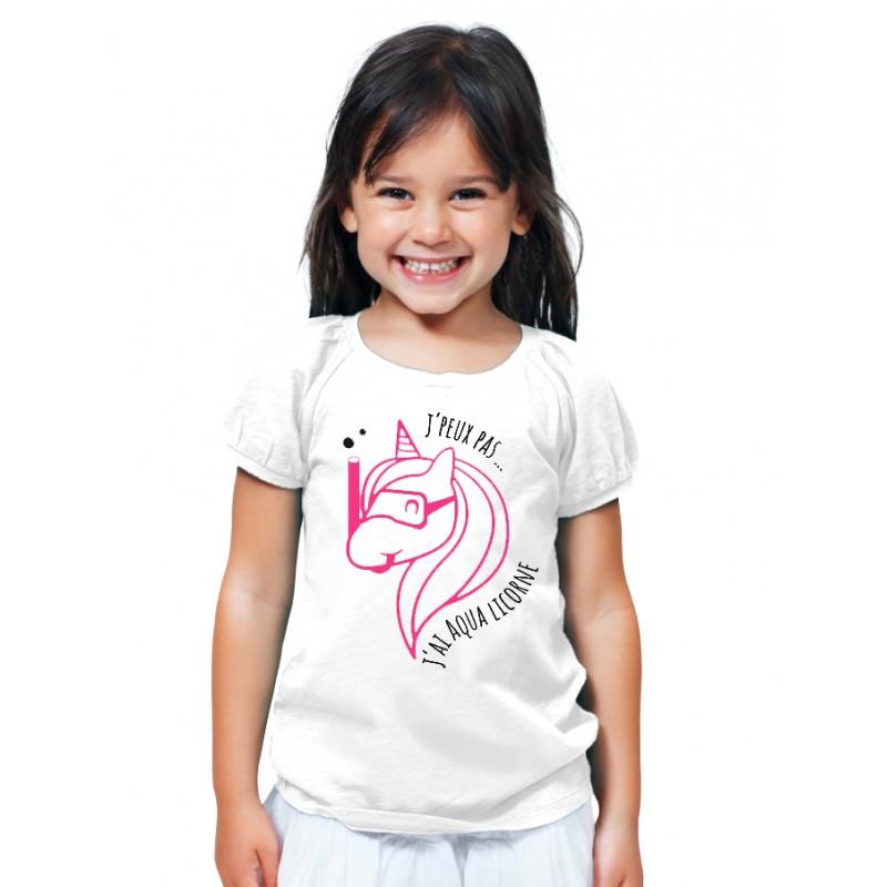 t-shirt j'peux pas j'ai aqualicorne - Cadeau enfant fille et garçon