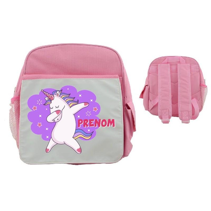 Sac à dos licorne dab rose avec prénom de l'enfant